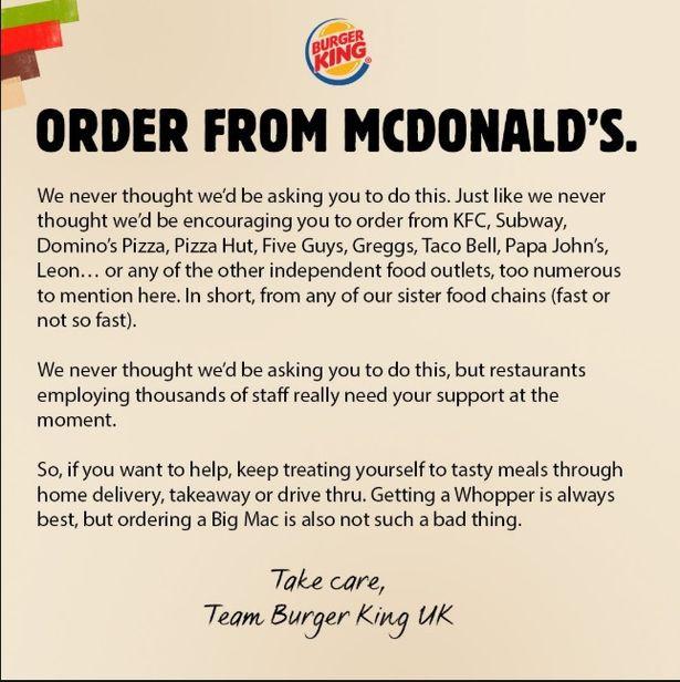 Burger King nos sorprende con una campaña de marketing en la que nos emplaza a pedir comida de su máximo rival, McDonald's, para remar juntos ante la Covid